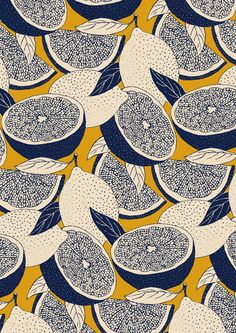 pattern by Minakani for Naf Naf #minakani #nafnaf #fruits #lemons #grapefruits #pulp #leaves