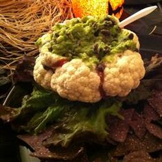 Halloween Brain Dip Allrecipes.com- not into avocado, maybe use an onion dip and dye it green, hm