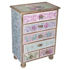 WOODEN DRAWER IN PURPLE/GREEN COLOR 66X40X92