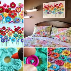 cuadro flores crochet                                                                                                                                                     Más
