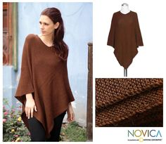 100% alpaca poncho, 'Splendid Earth' at The Animal Rescue Site