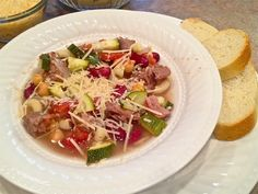 A twist on minestrone soup! Do you eat wild game? Try this simple slow cooker recipe (though you can use any stew meat). Moose Recipes, Venison Recipes, Chili Recipes, Meat Recipes, Crockpot Recipes, Real Food Recipes, Cooking Recipes, Game Recipes, Healthy Recipes