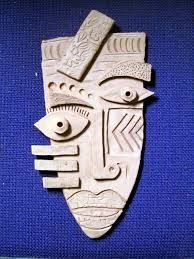 Kimmy Cantrell inspired the masks. Check out Kimmy's website here. Cardboard Mask, Cardboard Crafts, Clay Crafts, Cardboard Sculpture, Kunst Picasso, Picasso Art, Kimmy Cantrell, Art Visage, Ceramic Mask