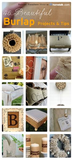 46 Beautiful Burlap Projects & Tips. Always love the way burlap looks but can never think of ways to use it! Burlap Projects, Burlap Crafts, Crafty Projects, Diy Projects To Try, Fabric Crafts, Do It Yourself Design, Do It Yourself Inspiration, Do It Yourself Home, Cute Crafts