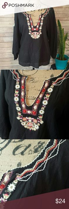 Joie black floral boho embroidery blouse Beautiful boho chic embroidered floral design blouse! 100% cotton Joie Tops Blouses