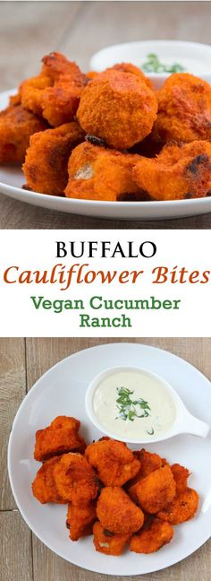 Buffalo Cauliflower Bites dipped into my Vegan Cucumber Ranch Dressing. Crispy, chewy, and breaded with tartness and spiciness. Pair that with a creamy cool vegan cucumber ranch and I guarantee you won't be able to stop until the entire plate is gone. Vegan Foods, Vegan Snacks, Vegan Dishes, Healthy Snacks, Vegan Meals, Vegan Apps, Vegan Lunches, Buffalo Cauliflower Bites, Vegan Cauliflower