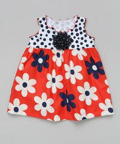 Look what I found on #zulily! Red-Orange & Navy Flower Swing Top - Toddler & Girls #zulilyfinds