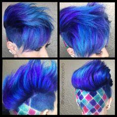 No filter! Color fun today on @makeupbydc #multicolorhair #hair #scissorsisters #fashionhair #awesomehair #sanjosestylist #willowglensalon #shampoo #colormelt #btc #modernsalon #californiastylist #magazine #haircolorspecialist #capellicouturewillowglen #mariarepettohair #bluehair #neonblue #royalblue #checkeredhair #instahair #pixiehair #unicorntribe #btconeshot_rainbow16 #btconeshot_color16