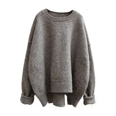 Women's Heathered Round Neck Asymmetric Knit Sweater (180 SEK) ❤ liked on Polyvore featuring tops, sweaters, loose knit top, loose fit tops, asymmetrical sweaters, heather sweater and bat sleeve tops