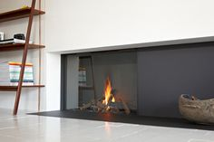 Gas closed fireplace with panoramic glass STÛV H Fireplace Feature Wall, Media Fireplace, Tv Over Fireplace, Linear Fireplace, Stove Fireplace, Fireplace Wall, Living Room With Fireplace, Fireplace Design, Gas Fireplaces