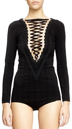 Givenchy V-Seamed Lace-Up Bodysuit: http://rstyle.me/n/cc6n22n4be | in black