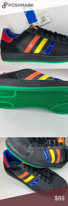 Adidas Superstar II CB Originals Black Rainbow 11 Brand New without Box!!!  Adidas 3e5ce5445a5
