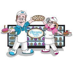 baking, baker, cake, bagel, pizza, soda, pop, counter, business, social media, cover image, cartoon, Muck Out Productions, Kevin Jackson Kevin Jackson, Business Design, Cartoon, Fictional Characters, Cartoons, Fantasy Characters