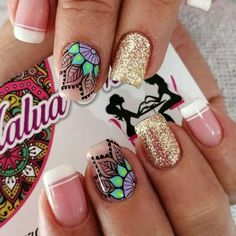 The 10 Best Nail Ideas Today (with Pictures) - ღ . Fancy Nails, Love Nails, Pretty Nails, Acrylic Nails, Gel Nails, Fish Nails, Best Nail Salon, Mandala Nails, Transparent Nails