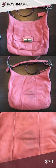 Authentic Coach Light Pink Crossbody Bag Authentic leather, Coach crossbody bag. You can detach the crossbody strap and make it into a shoulder bag if you would like. Has some signs of wear: on the outside there are some smalls scuffs on the front, the back has some blue from rubbing against jeans (wouldn't be noticeable if you're wearing the purse though since it's on the back), and some scuffing on the inside lining of the purse. accepting offers  Coach Bags Crossbody Bags