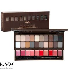 "NYX Nude on Nude set is a classy medleyof 20 neutral eye shadows and 10 vibrant lip colors that work for everyskin tone and every occasion. This makeup palette comes with a mirrorand 2 applicators for your lips and eyes, making it perfectly portable.    Dimensions  Compact: 6.75""W x 2.375""H x 1""D  Extended: 6.75""W x 4""H x 2.75""D"