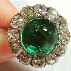 Diamond Rings : Spring greens! A beautiful late Victorian cabochon emerald and old-cut diamond c