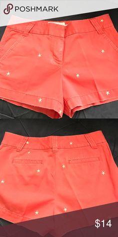 J. crew star 3inch chino shorts Orange with yellow stars J. Crew Shorts Jean Shorts