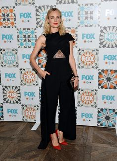 Diane Kruger arrived at the 2014 Television Critics Association Summer Press Tour FOX All-Star Party in a lace cutout Marios Schwab jumpsuit. via StyleList | http://aol.it/1nfzTlm