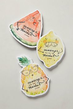 SO CUTE! Like drawings I made as a child (personifying fruits and veggies...) Mercado Magnetic Notepads! #anthrofave