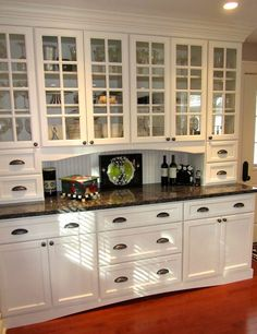Butlers Pantry. Built in furniture. White. Glass cupboard doors. Kitchen Cabinets With Glass Doors, Diy Cupboard Doors, Kitchen Cupboard Door Handles, Kitchen Buffet Cabinet, Upper Cabinets, Kitchen Knobs And Pulls, China Cabinets, Buffet Hutch, Cupboard Drawers