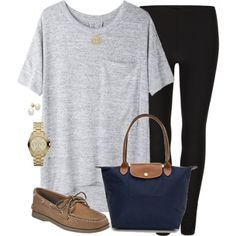 Easy to put together outfit. Gray tee, black leggings, brown loafers.  Get this look with black high waisted fleece lined leggings.