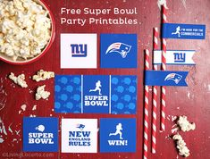 Super Bowl Party Free Printables {Patriots vs Giants}