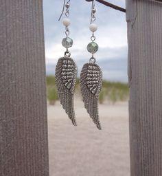 Pewter Angel Wing Earrings  on Etsy, $21.99
