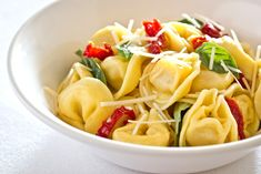 Cheese Tortellini with Sun-Dried Tomatoes and Fresh Basil - Click for Recipe