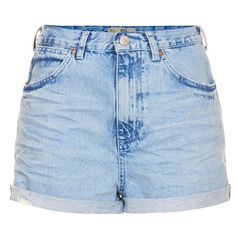 Topshop Moto 'Rosa' High Rise Denim Shorts ($28) ❤ liked on Polyvore featuring shorts, bottoms, pants, short, high rise denim shorts, hot pants, blue jean shorts, short shorts and vintage high waisted shorts