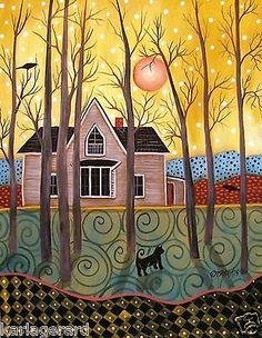 Original Landscape by Karla G Karla Gerard, Pink Houses, Art Houses, Bird Tree, Primitive Folk Art, Naive Art, Whimsical Art, Art Forms, Art Pictures