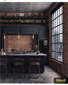 Industrial Farmhouse Design For Your Home Improvement 33 The Coolest Trend in 2019 Kitchen Interior Industrial Kitchen Design, Industrial Interiors, Industrial House, Interior Design Living Room, Industrial Decorating, Industrial Kitchens, Modern Industrial Decor, Design Interior, Industrial Windows
