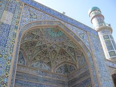 Dark blue and turquoise decorative tiles were widely used to decorate the facades and interiors of mosques and palaces from Spain to Central Asia.  Source: http://en.wikipedia.org/wiki/Blue
