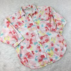 Diane Von Furstenberg  Womens Size 12 Blouse Button Down White Floral 3/4 Sleeve  | eBay