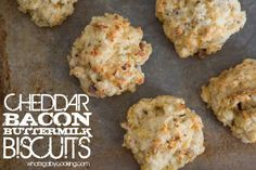 Cheddar Bacon Buttermilk Biscuits Recipe from What's Gaby Cooking Savoury Biscuits, Buttermilk Biscuits, Tea Biscuits, Breakfast Bake, Breakfast Recipes, Savory Breakfast, Breakfast Cookies, Easy Biscuit Recipe, Whats Gaby Cooking