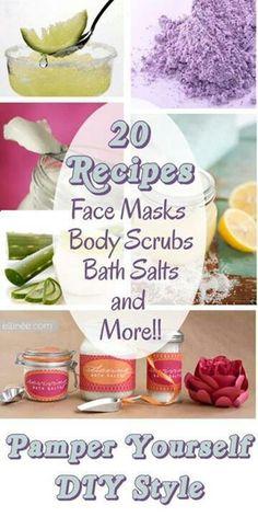 20 recipes for: face masks, body scrubs, bath salts + moreee!! ❤️