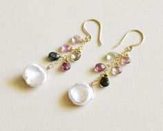 Keishi and Tourmaline 14k Gold Filled Earrings  by emarcidorchid, $70.00