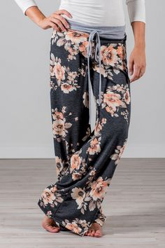 RESTOCKED!  RubyClaire Boutique - Harvest Floral Wide Leg Loungers | Charcoal, $32.00 (https://www.rubyclaireboutique.com/harvest-floral-wide-leg-loungers-charcoal/) Lounge Pants | Yoga Pants | Floral Pajamas | Womens Pajamas | Pajama Pants