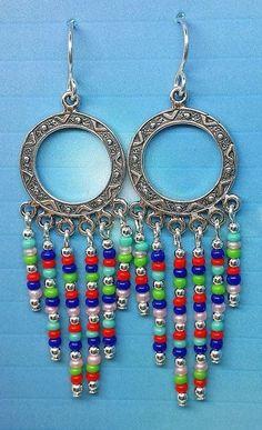 Navajo Multi dangle seed bead earring.