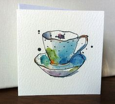 BlueTeacup Card from Original Illustration via Etsy