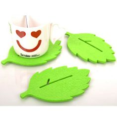 Mini order $8.99 Kitchen Green Leaf Shaped Felt Heat Insulation Cup Mug Pad Mat Coaster $0.99