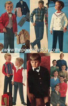 For boys in 1964, formal wear called for themed blazer and slack sets for any season or occasion. Casual wear featured pullover sweaters, button down shirts, jeans, and plain slacks.