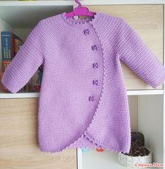 Crochet jacket for girl Crochet Baby Jacket, Crochet Baby Sweaters, Knitted Baby Cardigan, Baby Pullover, Crochet Coat, Crochet Baby Clothes, Baby Knitting Patterns, Crochet Patterns, Crochet Pullover Pattern