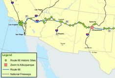 Map of Route 66 - New Mexico, Arizona and California