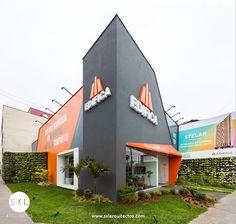 Diseño de sala de ventas para promoción inmobiliaria, proyecto Stelar en Barranco. // sxl arquitectos Lima - Perú, diseño y construcción de oficinas y locales comerciales. Office Building Architecture, Building Design, Architecture Design, Retail Facade, Shop Facade, Supermarket Design, Retail Store Design, Design Exterior, Facade Design