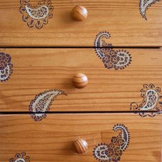 Small Paisleys Furniture Stencil