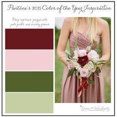 grace and serendipity - marsala inspiration board - maroon, pink, green wedding