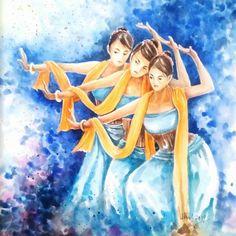 3 Diva#art #watercolor ##painting #dance #dancer #sunda #jabar #traditionaldance #traditional #indonesia #instaart #instagood #instago #instapaint #3 #jaipong #l4l #beauty #beautiful