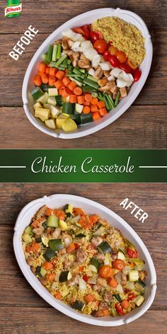 You& only 20 minutes and 5 steps away from an unforgettable dinner: Preheat oven. Season and brown chicken and vegetables in a skillet. Combine rice, chicken and vegetables in a baking dish. Bake and serve. Chicken Casserole, Casserole Recipes, Vegetable Casserole, Rice Casserole, Chicken Rice, Good Food, Yummy Food, Tasty, Cooking Recipes