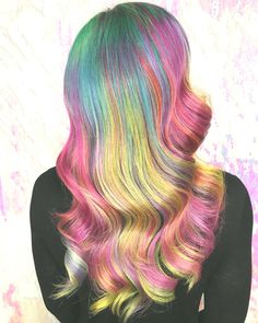 Hair color photos to serve as inspiration & show off some of my work behind the chair. Pretty Hair Color, Hair Color Purple, Hair Dye Colors, Neon Hair, Pastel Hair, Dark Brows, Hollywood Hair, Rainbow Hair, Rainbow Pastel
